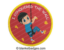 10 I conquered the wall climbing boy woven sport badge patch patches badges NEW