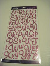 Scrapbooking Crafts Stickers Sticko Glitter Script Alphabet Pink Large Small