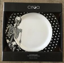 CIROA SKELETON DINNER PLATES SET OF 4 HALLOWEEN WHITE POLKA DOT