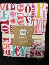 Pottery Barn Teen Merry Words Flannel Winter Bed Dorm Sheets Set XL Twin Warm