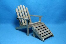 Dollhouse Miniature Garden Adirondack Chair with Detached Foot Stool  ~ T4614-1