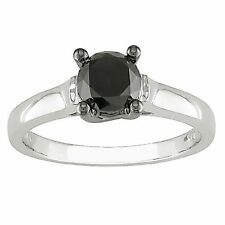 RRP £150 1/2Ct Black Opaque Diamond Solitaire Engagement Ring in Sterling Silver
