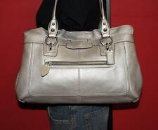 COACH Large PENELOPE Silver Leather Satchel Tote Carryall Purse Bag #14682