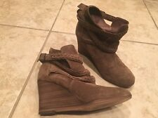 Comptoir Des Cotonniers Tan Suede Wedge Heel Ankle Boot Shoe Size 36 Us 6