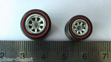 HOT WHEELS RUBBER TIRES SET 8 SPOKE CHROME RED LINE NEW REAL RIDERS B&S