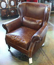 "37"" W Club arm chair soft Italian leather vintage brown wood frame front casters"