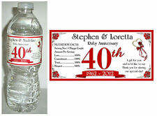 20 RUBY 40th ANNIVERSARY WATER BOTTLE LABELS ~ Glossy ~ Waterproof