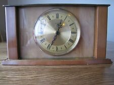 Vintage Mantle Clock 70's Metamec Quartz Onyx Brass Wood VGC For Age