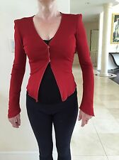 Rozae Nichols Red Women's Top Blouse 3 Snaps Down In Size P