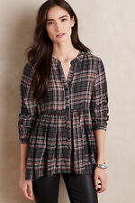 Anthropologie Tylho Gray Plaid Peplum Button Down Swing Tunic Top L