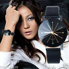Ladies Women's Black Dial Leather Stainless Steel Date Analog Quartz Wrist Watch