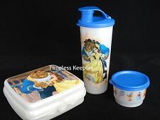 Tupperware Disney Beauty and the Beast Lunch Set 3 pc Tumbler Sandwich Snack NEW