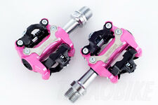 [US SELLER] New Wellgo M250 Bike CLIPLESS Pedal SPD COMPATIBLE Cleat 98A - Pink