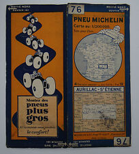 Carte MICHELIN old map FRANCE AURILLAC SAINT ETIENNE 1930 Bibendum pneu tyre