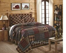 AUSTIN Queen Quilt Red/Tan/Black Rustic Primitive Patchwork Madras Plaid Cabin