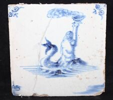 17th Century Antique Dutch Delft Tile - Mythical Creature / Merman