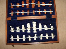 CHINESE IMPERIAL ARMY  HAND CARVED CHESS SET BOARD STORAGE FULL 32 PIECES