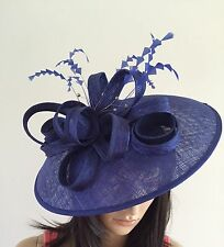LADIES NEW COBALT BLUE WEDDING HAT DISC FASCINATOR OCCASION MOTHER OF THE BRIDE