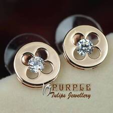 18CT Rose Gold Plated Sparkling Flower Stud Earrings W/ Genuine Swaroski Crystal