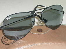 VINTAGE B&L RAY BAN BLACK BLUE/GRAY CHANGEABLES TRANSITION AVIATOR SUNGLASSES