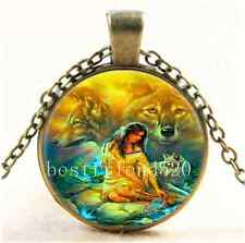 Vintage Native American Woman with Wolf Cabochon Glass Bronze Necklace