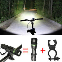 Bike Bicycle CREE XM-L T6 LED Zoomable Flashlight 5000LM Torch 360°Mount Clip