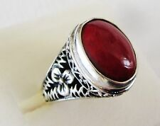 Red Coral, 925 Sterling Silver Ring size 6 ---   8 cts, 5.8 grams