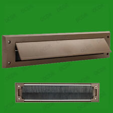 4x Brown PVC Door Letter Box Draught Excluder Brush Seal, 338 x 78 mm, With Flap