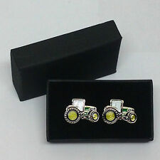 John Deere Green Tractor Cufflinks Gift Boxed Wedding/Farming Enamel Shirt Suit