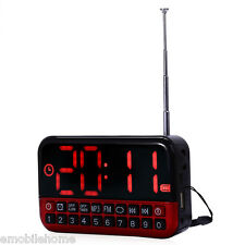 L-80 Large LCD Screen MP3 Player Speaker FM Radio Receiver Desk Clock TF USB Red