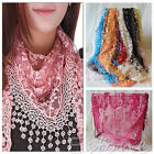 Autumn Summer Women Embroidery Rose Lace Triangle Pendant Shawls Scarf Wraps