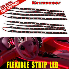 8x New 30cm /15 LED Car Truck Motorcycle Flexible Strip Light 12V Waterproof Red