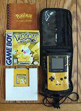 Nintendo Game Boy Color Yellow & Pokemon Special Pikachu Ed Game And Carry Case