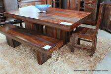 "80"" L Dining Table Indian Solid Rosewood Gray and Amber Tone Grain spectacular"