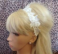 IVORY VINTAGE STYLE FLORAL ROSE COTTON LACE BANDEAUX HAIR HEADBAND ELASTIC BACK