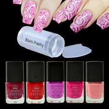 6pcs/set Red Series Nail Stamping Polish Manicure & Clear Stamper Scraper Kit