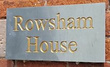 Deeply engraved Honed Grey sandstone house sign 400mm x 200mm