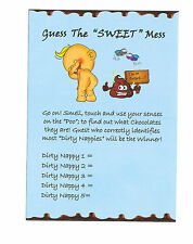 Baby shower games/ Dirty Nappies Game Player Sheets 20 SHEETS BLUE for Baby Boy!
