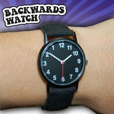 Backwards Watch Novelty Analogue Watch Fun Gadget Canvas Strap Secret Santa Gift