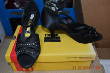 Black satin Topline Inga ballroom/latin dance shoes- Size UK 4.5
