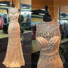 New Crystal Bead Mermaid Celebrity Formal Evening Prom Gown Party Dress Custom