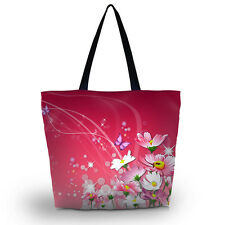 Pink Floral Women Shopping Shoulder Bag Beach Travel Tote Satchel Flod Handbag