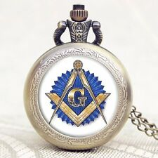 Fashion Pocket Watch Masonic Free-Mason Freemasonry Style  Necklace Men's Gift