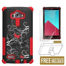 Tri Shield Phone Case for LG G4 w/ kickstand & screen protector Butterfly Scroll