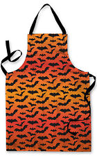 BLACK BATS ORANGE HALLOWEEN DESIGN APRON KITCHEN BBQ COOKING PAINTING SPOOKY