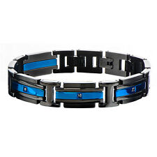 Inox Jewelry Men'S Stainless Steel Black Ip And Ip Blue Black Cz Link Bracelet