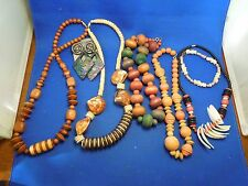 Lot 7 Vintage Wood Shell Jewlery Arts and Crafts 5 Necklaces Bracelet Earrings