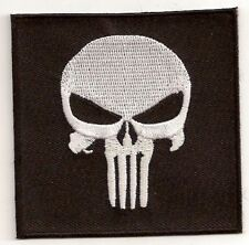 LOT OF 2 - PUNISHER SKULL EMBROIDERED IRON-ON  BIKER  PATCH