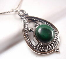 Malachite Necklace 925 Sterling in Hoop with Silver Dot & Rope Styled Accents