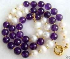"new Beautiful 8mm Amethyst & White pearl Necklace 18"" AA"